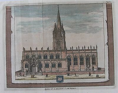 OLD ANTIQUE PRINT OXFORD UNIVERSITY ST MARYS CHURCH HIGH STREET c1707 ENGRAVING