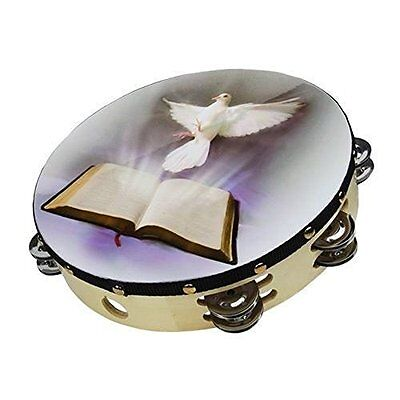 """Tambourine 10"""" Dove Bible Double Row Jingle Percussion Instrument for Church by"""