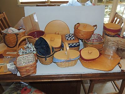 13 Longaberger Baskets W/ Liners &assorted Extra Liners,wood Covers& Deviders