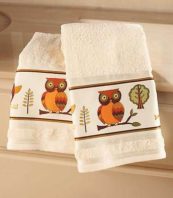 Owl Bathroom Collection SET of 2 TOWELS 2 Colorful Guest Hand Towel Bath Kitchen