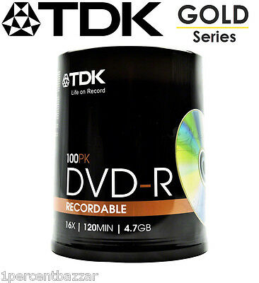 100 200 300 pack TDK Gold Series DVD-R 4.7Gb 16X Blank Recordable Discs Spindle