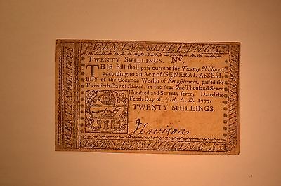 April 10, 1777 Pennsylvania Colonial Note- Twenty Shillings- Very Fine
