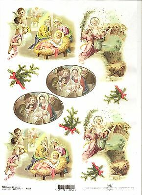 Rice Paper for Decoupage Scrapbooking Christmas Angels Jesus Born A4 ITD R457