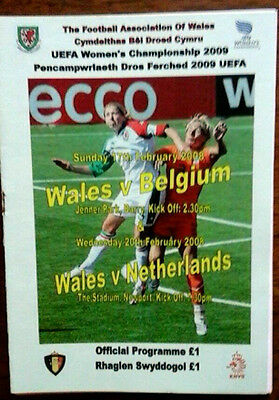Wales V Belguim/ Holland 2008 Uefa Womens Championship Double Issue