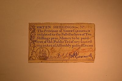 December 1771 North Carolina Colonial Note- Ten Shillings- Very Fine.