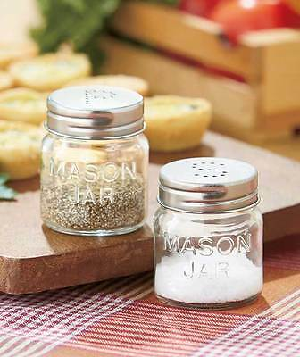 MASON JAR Salt & Pepper Shaker Set with Metal Lids Rustic Country Kitchen Decor
