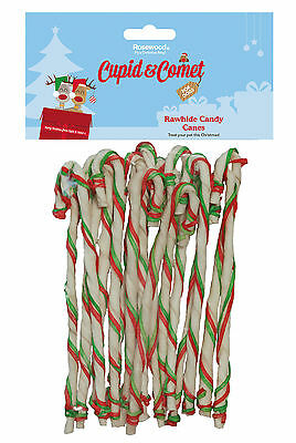 Rosewood Rawhide Christmas Xmas Candy Canes 8 Inch Bumper Pack for Dogs