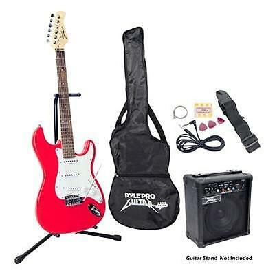 Guitar Electric Beginner Starter Kit Package Red Basswood Pyle Pro Brand New