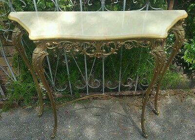 Stunning vintage brass and marble entry table and mirror set  furniture
