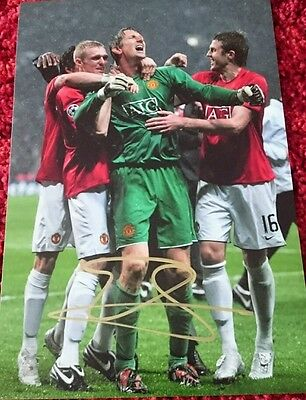 Edwin van der sar signed man utd champions league final photo holland COA proof