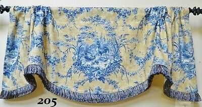 Waverly La Petite Ferme Scalloped window Valance/  French Country Rooster Toile