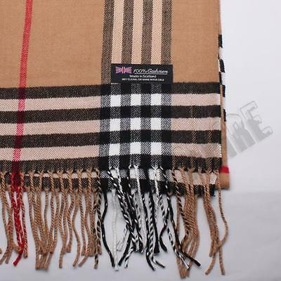 Men's 100% CASHMERE Scarf Camel Big Plaid Stripe Design Soft