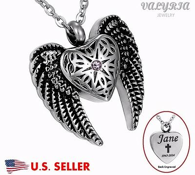 Engraved Personalized Angel Heart Wings Cremation Jewelry Keepsake Urn Necklace