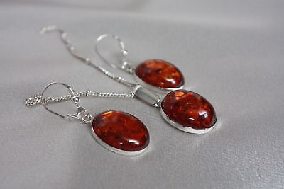 Set - Auth. Baltic Amber Earrings And Pendant 925 Sterling Silver -   Great Set