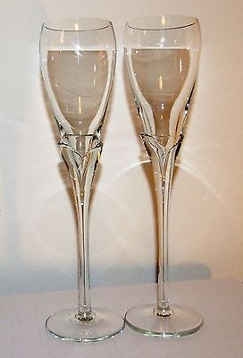 Crystal Champagne Glasses w/ Clear Tulip Stems - Set of 2