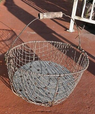 Large Primitive Vintage Metal Egg Basket With Metal Insert Wood Handle 0051010
