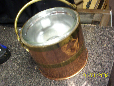 Vintage Hand Made Pyrex Glass Lined Copper  Ice Bucket     0031010