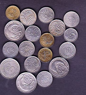 18 Singapore Different Coins,