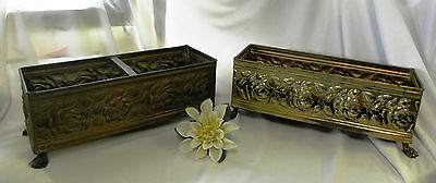 2 Pretty & Chic Brass Flower Boxes With Raised Shabby Cottage Roses  0121010