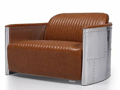Aviator Industrial Vintage Style Chair 2 Seater Sofa Brown  Leather