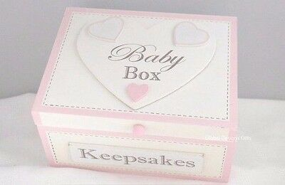 Memory Box Keepsakes Chest Pink Special Baby Wooden Christening Nursery F1247A