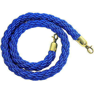 "Crowd Control Rope Stanchion Pole Rope Queue Line Barrier Rope Twisted 60"", Blue"