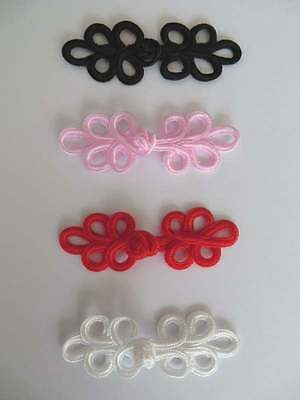 4 sets hand stitched frog fasteners closure trimmings black, pink, red or white