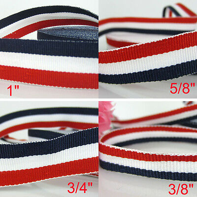 5/10/35 yards Patriotic Red White Navy Blue Stripe Grosgrain Ribbon Flag ribbons