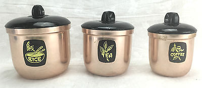 Canister Set of 3 Anodised Pink Retro Kartell Vintage 1970's Australian Made