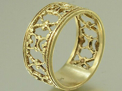 R013- Wide Genuine 9ct Solid Yellow Gold Filigree Band Ring Vintage Scrolls