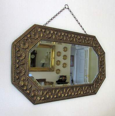 Stylish vintage embossed brass frame bevel edge wall mirror