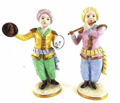 Pair Sitzendorf Porcelain Turkish Band Figures Hand Painted