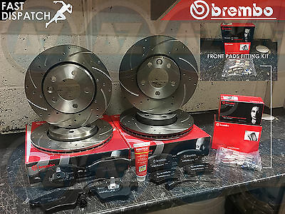 Vw Transporter Caravelle 2.5 Tdi T5 Brembo Front Rear Drilled Grooved Discs Pads