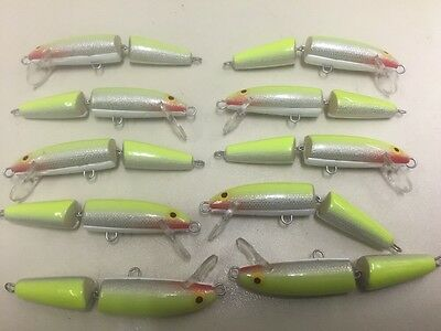 10x Fishing Plugs - Yellow/Sliver - 7cm - pike, perch, bass, mackerel, trout