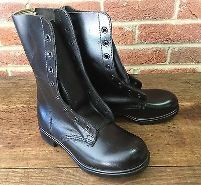 Army Surplus - British 1980's High Leg Black Leather Combat Boots *Small Size*