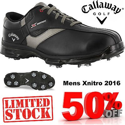 Callaway Golf Shoes X Series Nitro Waterproof Leather Mens Golf Shoes Black
