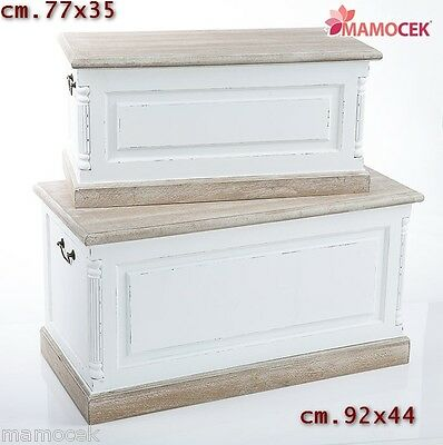 BAULE CASSAPANCA CONTENITORE FORZIERE LEGNO bianco ROSE Vintage Shabby