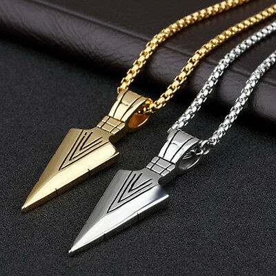 Fashion Good Gift Men's Silver/Gold Stainless Steel Sword Pendant Chain Necklace