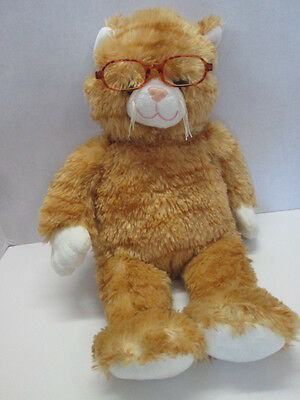 "Build a Bear Workshop 17"" Orange Stripe Tabby Cat Kitten Kitty with glasses"