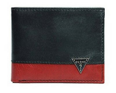 New Guess Leather Double Credit Cards Billfold Black/Red Men's Wallet