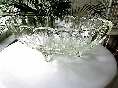 """Indiana Glass Garland Clear Centerpiece Oval Bowl 8 1/2"""" x 12"""""""