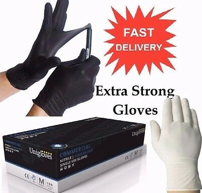 Strong Disposable Powder Free Commercial Black Nitrile & White Latex Gloves 100