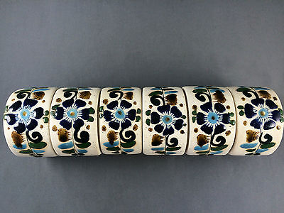 Vtg Set of 6 Mexican Pottery Napkin Rings Signed RS Blue Floral
