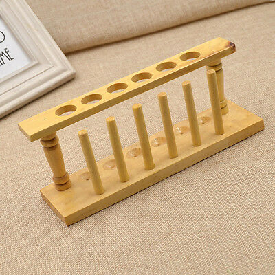 Wood 6 Holes Test Tube Airing Storage Rack for Chemistry Lab Supply Handmade