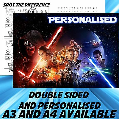 Childrens Star Wars Dinner Mat A4 / A3 sizes available Place Mat
