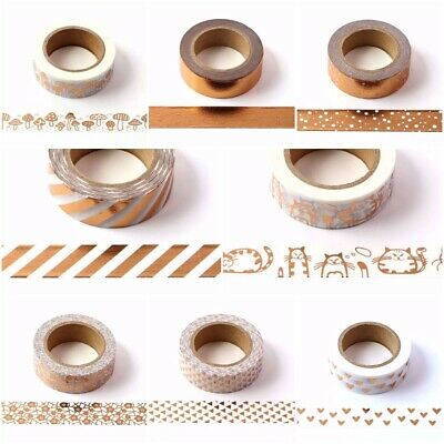 Copper Rose Gold Metallic Foil Washi Tape - 15mm x !0 Metres Roll