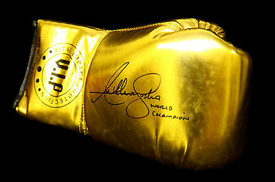 *Rare* Anthony Joshua Hand Signed Gold Vip Boxing Glove.Inscribed World Champion