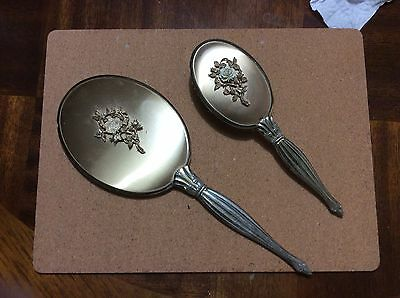 Vintage Vanity Hand Beveled Mirror And Brush Set From 1960's