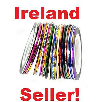 NEW 10 Mixed Colour Nail Art Striping Tape Lines