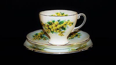 "Royal Standard, Australian Flowers ""Wattle"" D828 Fine China Trio Made In England"